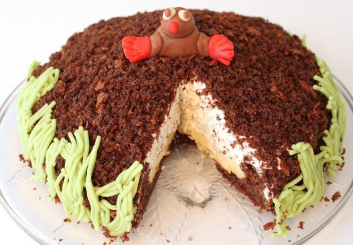 Maulwurfkuchen mit Marzipan-Maulwurf