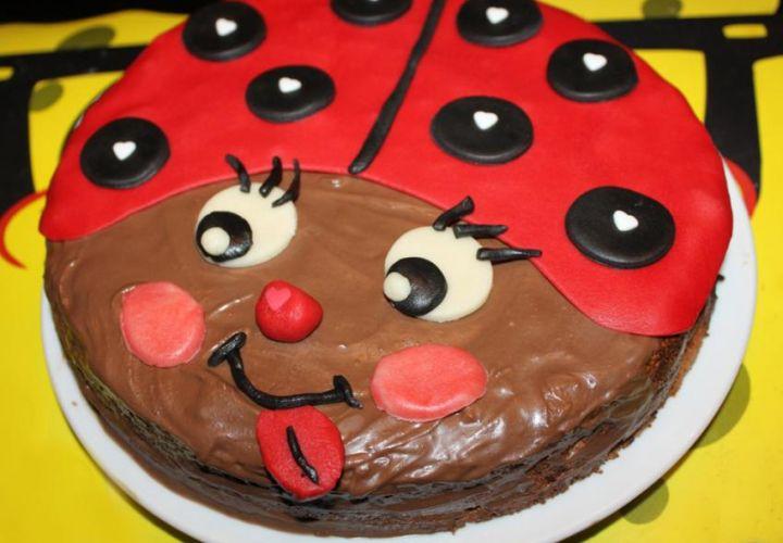 Schokoladenmarienkäfer-Kuchen